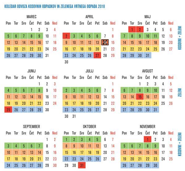 kosovni zelen vrtni odpad koledar bled gorje